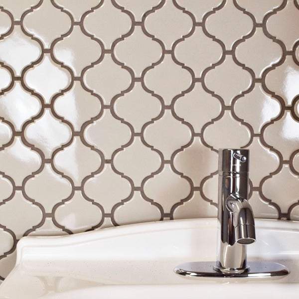 SomerTile 9.75x10.75-inch Victorian Morocco Glossy Grey Porcelain Mosaic Floor and Wall Tile (Case o
