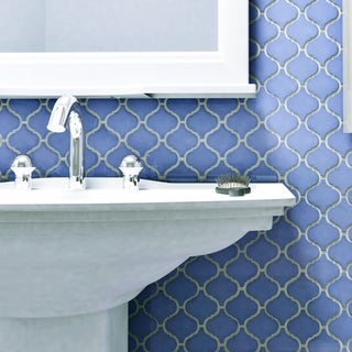 SomerTile 9.75x10.75 Inch Victorian Morocco Glossy Blue Porcelain Mosaic  Floor And Wall Part 33