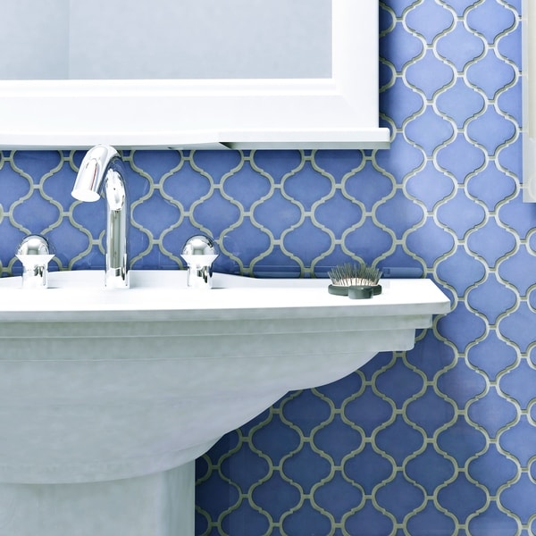SomerTile 9.75x10.75-inch Victorian Morocco Glossy Blue Porcelain Mosaic Floor and Wall Tile (Pack o