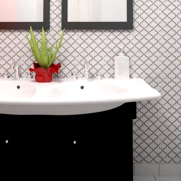 SomerTile 9.75x10.75-inch Victorian Morocco Matte White Porcelain Mosaic Floor and Wall Tile (Pack o
