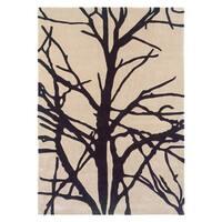 Linon Trio Collection Black/ Tan Tree Silhouette Modern Area Rug (5' x 7') - 5' x 7'