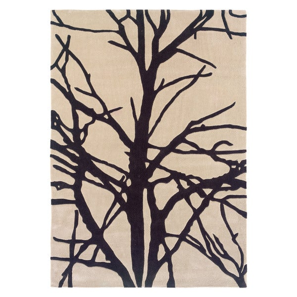 Linon Trio Collection Black/ Tan Tree Silhouette Modern Area Rug - 5' x 7'
