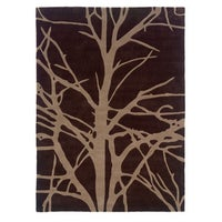 Linon Trio Collection Brown Beige Tree Silhouette Modern Area Rug 5