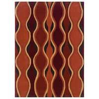 Linon Rust and Grey Geometric Glass Motif Transitional Area Rug (5' x 7') - 5' x 7'