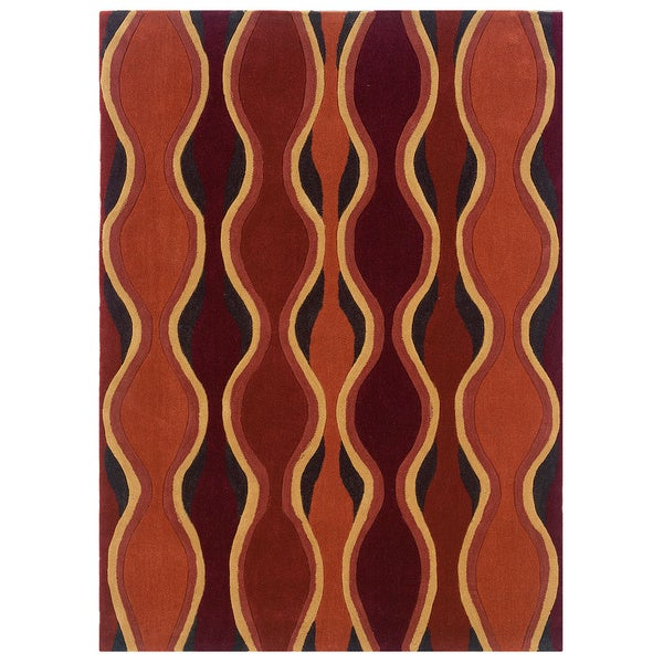 Linon Rust and Grey Geometric Glass Motif Transitional Area Rug (8' x 10')