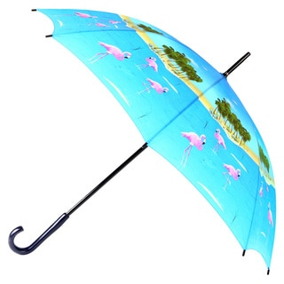 Leighton Flamingo Print Wooden-handle Umbrella