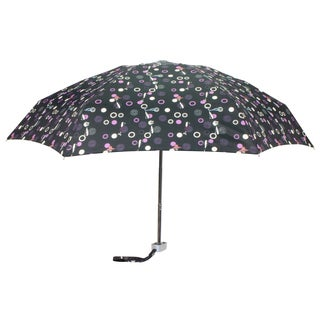 Leighton 'Genie II' Black Cat Print Manual Compact Umbrella