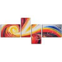 "Hand Painted ""Eye of Rainbow Storm"" Canvas Wall Art"