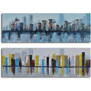 "Hand Painted ""Duo of Waterlogged City"" Canvas Wall Art"