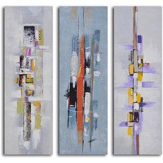 "Hand Painted ""Urban Abstract Triptych"" Canvas Wall Art"