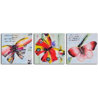 "Hand Painted ""Poetry of Butterfly Flight"" Canvas Wall Art"