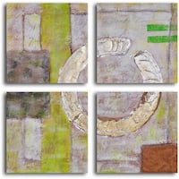 """Hand Painted """"Embossed Gold on Tiles"""" Canvas Wall Art"""