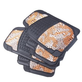 Leopard Print Car Floor 4-piece Carpet Mat Set