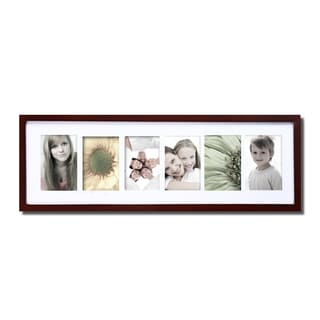Walnut Matted 6-opening Collage Photo Frame