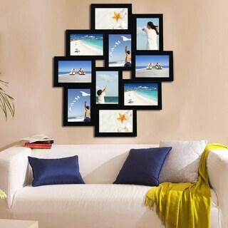 Black Wood Hanging 10-opening Collage Photo Frame