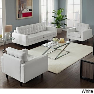 Empress Leather Sofa and Arm Chairs Set (Option: White)