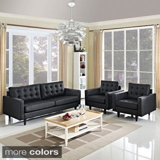 Empress Leather Sofa and Arm Chairs Set