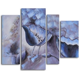 'Floral Mirage in Ice' Hand-painted Canvas Wall Art
