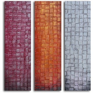 "Hand Painted ""Trio of Textured Panels"" Canvas Wall Art"