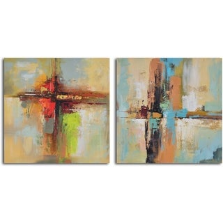 Hand-painted 'View Across Water' Canvas Wall Art