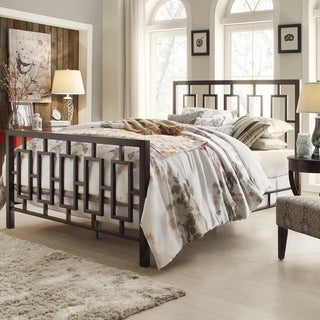 INSPIRE Q Aria King-size Contemporary Window Geometric Pattern Metal Bed