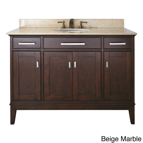 Shop avanity madison 48 inch single vanity in light espresso finish with sink and top free for 48 inch bathroom vanity light