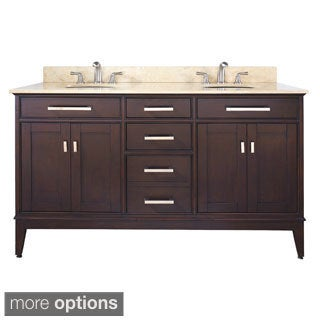 Avanity Madison 60-inch Double Vanity in Light Espresso Finish with Dual Sinks and Top
