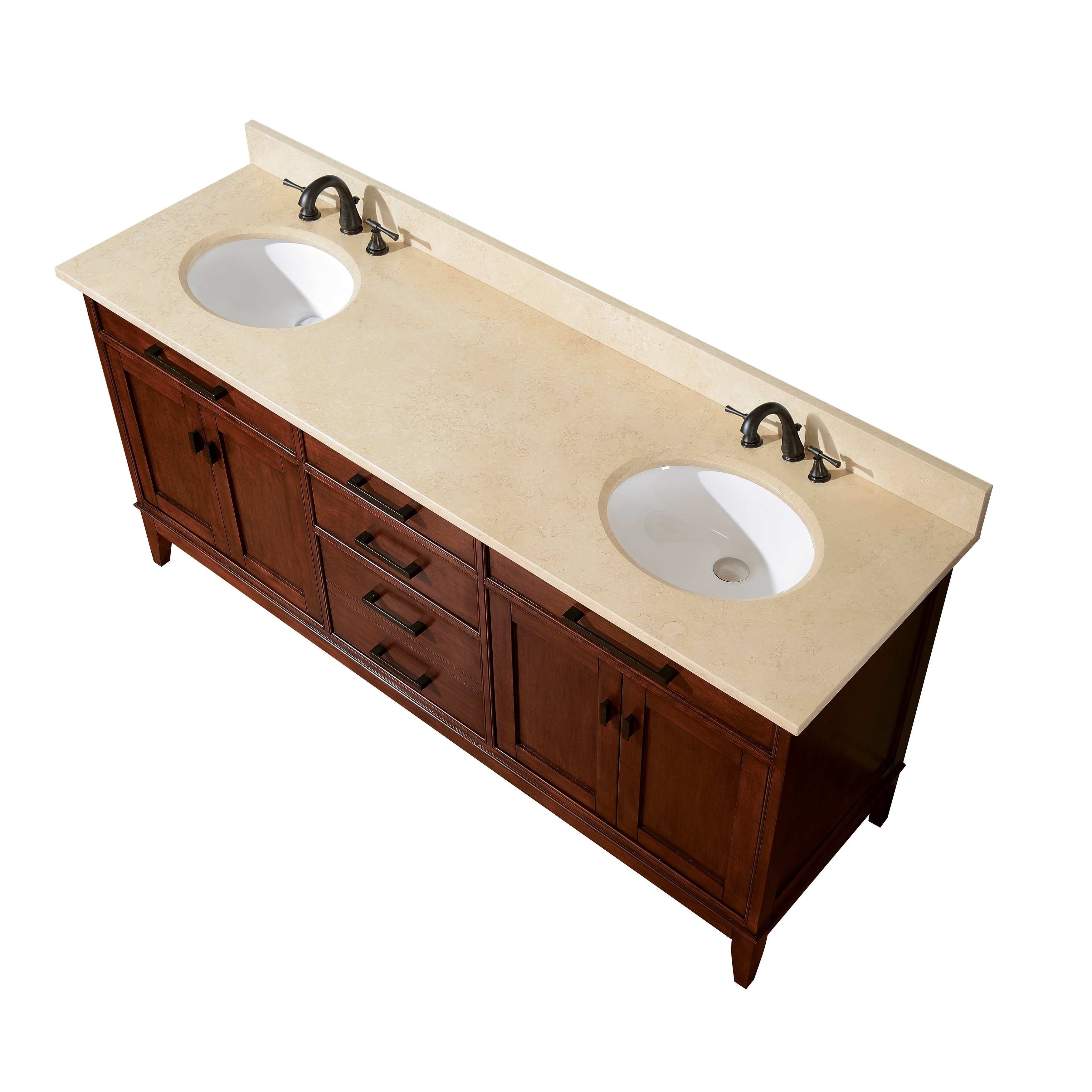 Avanity Madison 72 Inch Double Vanity In Tobacco Finish With Dual Sinks And Top Overstock 8930033 Carrara White Marble Top