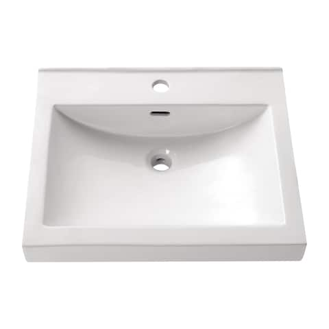 "Avanity Rectangular 21.7-inch Semi-recessed White Vessel Sink - 21.7""W x 6.3""D - 21.7""W x 6.3""D"