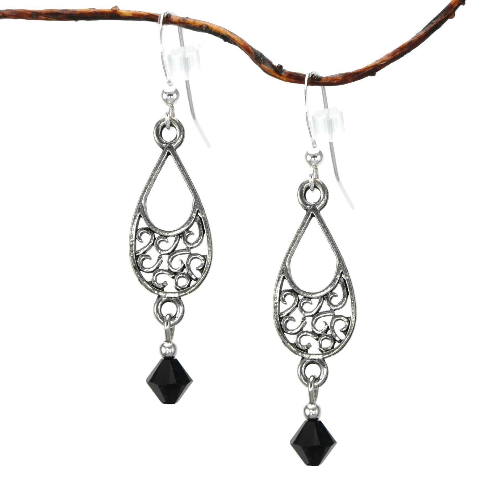 Jewelry by Dawn Pewter Filigree Black Crystal Teardrop Da...