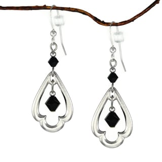 Jewelry by Dawn Rhodium-plated Black Crystal Scalloped Teardrop Earrings