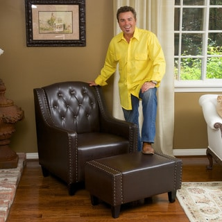 Christopher Knight Home Elaine Tufted Brown Leather Club Chair and Ottoman