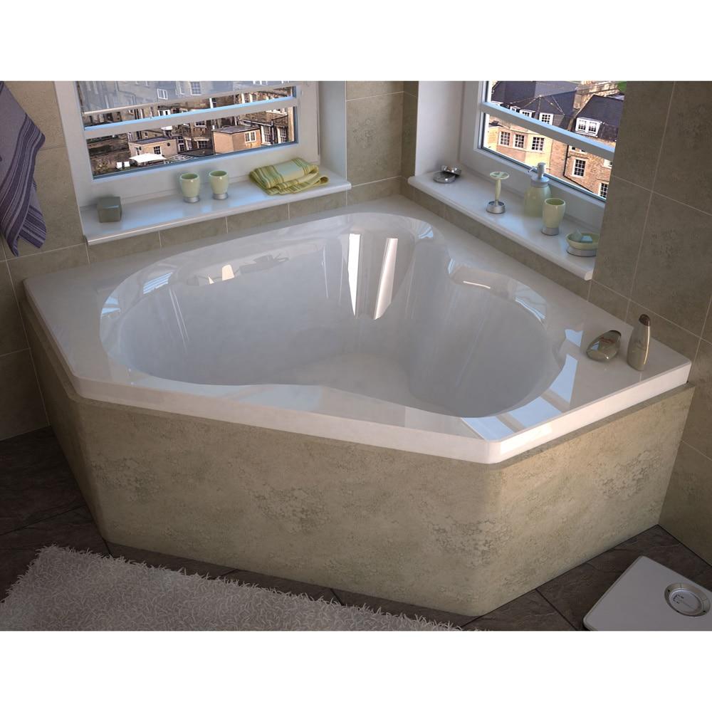 Atlantis Whirlpools Cascade 60 x 60 Corner Soaking Bathtub in White ...