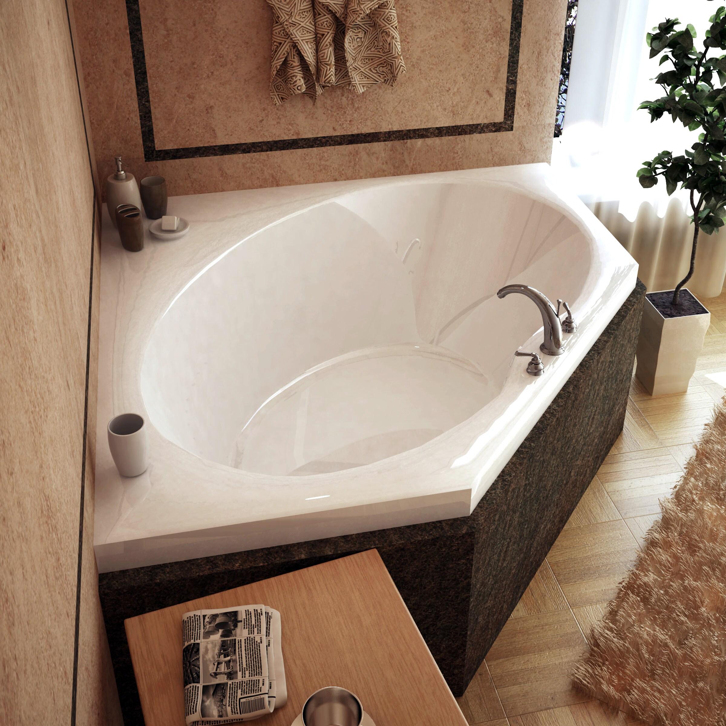 Atlantis Whirlpools Venus 60 x 60 Corner Soaking Bathtub in White ...