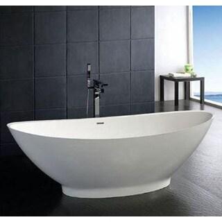 Atlantis Whirlpools Lucea 34 x 73 Artificial Stone Freestanding Bathtub in White