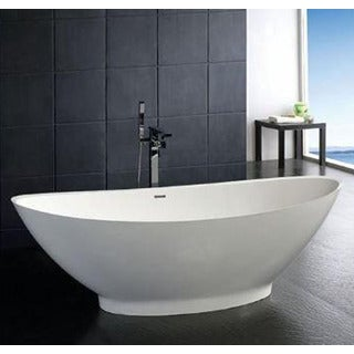 Atlantis Whirlpools Lucea 34 x 73 Artificial Stone Freestanding Bathtub in White - 34 x 73