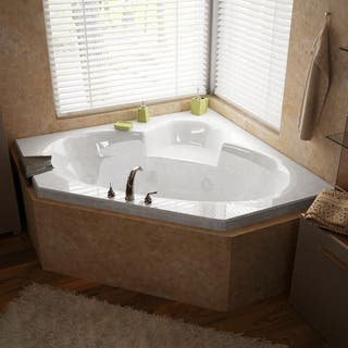 Atlantis Whirlpools Sublime 60 x 60 Corner Whirlpool Jetted Bathtub in White. Jetted Tubs For Less   Overstock com