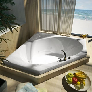 Atlantis Whirlpools Eclipse 60 x 60 Corner Whirlpool Jetted Bathtub in White