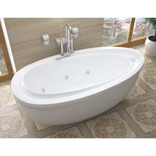 Atlantis Whirlpools Breeze 38 x 71 Oval Freestanding Whirlpool Jetted Bathtub in White