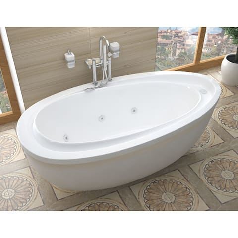 Atlantis Whirlpools Breeze 38 x 71 Oval Freestanding Whirlpool Jetted Bathtub in White