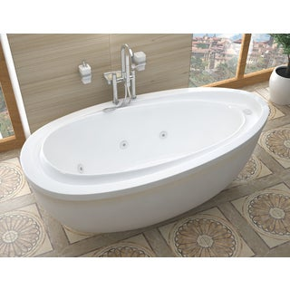breeze 38 x 71 oval freestanding whirlpool jetted bathtub in white
