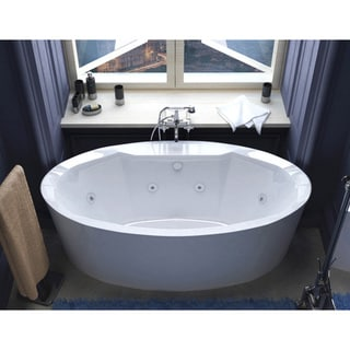 34 x 68 Oval Freestanding Whirlpool Jetted Bathtub in White