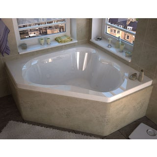Atlantis Whirlpools Cascade 60 x 60 Corner Air & Whirlpool Jetted Bathtub in White