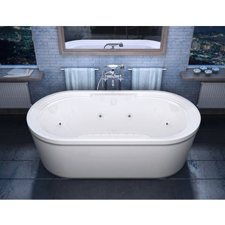 Atlantis Whirlpools Royale 34 x 67 Oval Freestanding Air & Whirlpool Water Jetted Bathtub in White