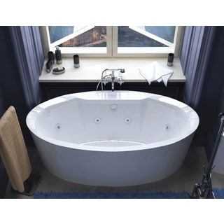 Atlantis Whirlpools Suisse 34 x 68 Oval Freestanding Air & Whirlpool Water Jetted Bathtub in White