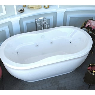 Atlantis Whirlpools Embrace 34 x 71 Oval Freestanding Air & Whirlpool Water Jetted Bathtub in White