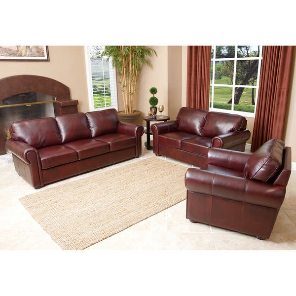 Shop Abbyson Living \'Bella\' Burgundy Leather 3-piece Sofa ...