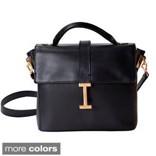 Isaac Mizrahi Liz Removable Tech Compartment Genuine Leather Satchel Handbag