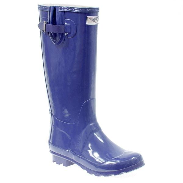 Women's Navy Blue Mid-calf Rubber Rain Boots