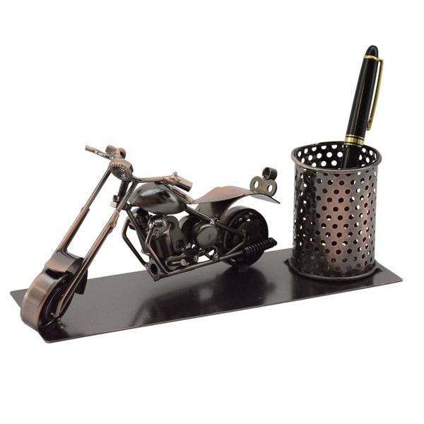 Three Star Motorcycle Desk Pen Holder